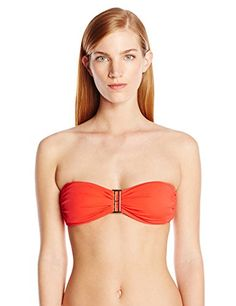 70207c5ee6f56 Amazon.com  Tommy Hilfiger Women s Hardware Solids Bandeau Bikini Top   Clothing
