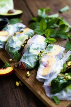 Peach, Avocado & Spinach Spring Rolls