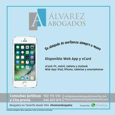 Web App y vCard disponible! Su abogado de confianza siempre a mano. https://alvarezabogadostenerife.com/?p=9269 #WebApp #vCard #Abogados #Tenerife #SomosAbogados