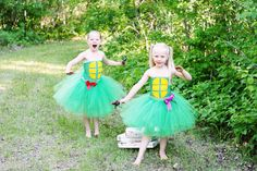 Teenage Mutant Ninja Turtles inspired Donatello tutu dress - girl ninja turtle - Halloween ideas size newborn to 5t  - costume on Etsy, $49.99. Crazy cute. Could make something similar, that covers more.