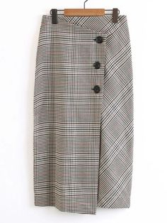 Button Up Plaid Wrap Skirt