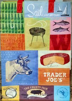 Trader Joe's Reusable Shopping Tote Mystery Pack $2.99 トレーダージョーズのエコバッグ ミステリーパック Wisconsin ウィスコンシン