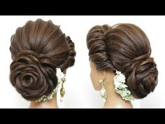 New Bridal Hairstyle With Flower Bun For Long Hair. Wedding Updo New Latest Hairstyle With Flower Bu New Latest Hairstyle, Simple Bridal Hairstyle, Bridal Hair Buns, Bridal Updo, Latest Hairstyles, Wedding Updo, Hairstyle With Flowers, Wedding Makeup, Prom Updo