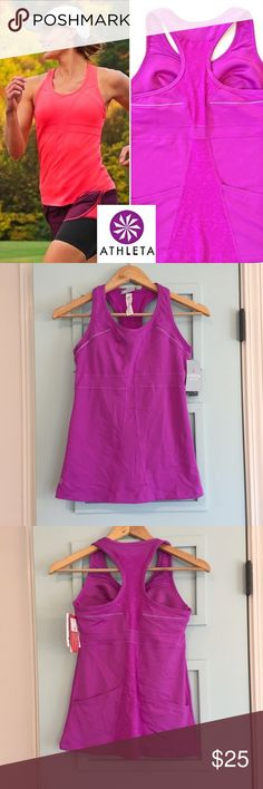 NWT Athleta turbocharge tank NEW NWT Athleta turbo charge tank Brand NEW. Size XS.   Gorgeous purple color. This item was purchased at the GAP BRANDS clearance center.  There is a small mark on the tag to prevent store return.  My awesome find is your GAIN!  You don't have to pay outrageous retail price! It is NWT.  This will ship from a clean, smoke-free & pet-free home.  All items are brand new, excellent condition unless otherwise noted.  Check out the other items in my closet for a…