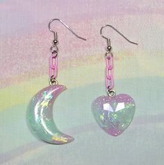 ♥ Moon and Heart Earrings, Magical Girl Earrings, Fairy Kei Earrings, Mismatched Earrings, Pop Kei Earrings, Fairy Kei Jewelry, Sweet Lolita Jewelry ♥  https://www.etsy.com/shop/starlightsparkles