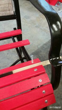 Patio Furniture Rehab: When I approached this project, I examined my existing dilapidated patio chairs trying to decide whether to repair or replace. Purchasing new slings seemed to be expensive, so I… Wood Patio Chairs, Patio Furniture Makeover, Lawn Furniture, Backyard Furniture, Lawn Chairs, Furniture Repair, Chair Makeover, Repurposed Furniture, Outdoor Furniture