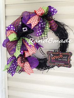 Witch and Her Monsters Halloween Wreath by RandBmade on Etsy $60.00