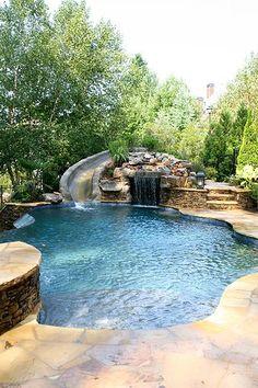 Backyard Pool Landscaping, Backyard Pool Designs, Small Backyard Pools, Swimming Pools Backyard, Swimming Pool Designs, Outdoor Pool, Backyard Projects, Landscaping Ideas, Backyard Ideas
