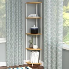 The practical design features a corner display unit that allows you to keep your books, DVDs and other accessories in an organised manner. The product is suitable for your living room, kitchen or even your bedroom settings. Low Bookcase, Corner Bookshelves, Cube Bookcase, Etagere Bookcase, Ladder Bookcase, Bookcases, Corner Display Unit, Corner Unit, Wood Shelves