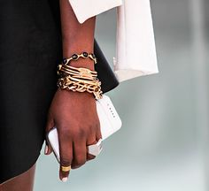 Gold bangle stack #jewelrytrends