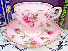 Vintage Tuscan Hand Painted Pink Roses on Pink Ground Teacup and Saucer - Tea Cup