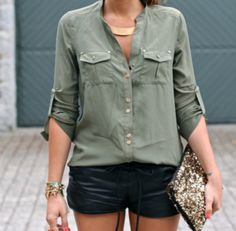 Army olive green blouse