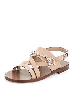 So bad!!  PLZ WHO FAIRY///Juliette Leather Bit-Strap Sandal, Beige by Gucci at Neiman Marcus.