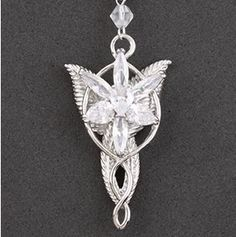 White Gold Plated LORD of Rings LOTR Necklace Pendant Evenstar Jewelry Wedding | eBay