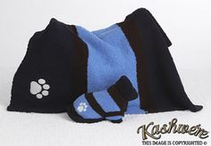 Kashwere Hydranga Blue/Chocolate Dog Sweater (Blanket not included)