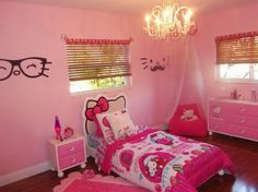 Awesome pink bedroom interior design with hello kitty theme interior with hello kitty headboard as well bamboo shades window and chandelier above bed