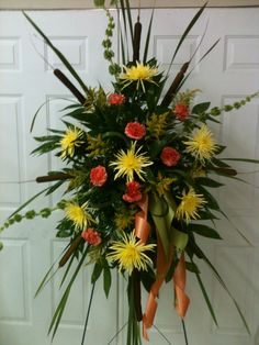 Funeral Spray with Cattails and Fugi Mums