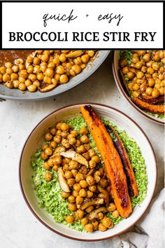 BROCCOLI RICE STIR FRY is a quick low carb, vegan meal made with broccoli rice and topped delicious marinated chickpeas #stirfry #broccolirice #vegan #lowcarb Broccoli Rice, Chickpeas, Kitchen Recipes, Chana Masala, Stir Fry, Love Food, Fries, Vegan Recipes, Dinner Recipes