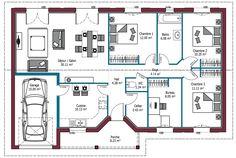 Plan maison charentaise 4 chambres, avec bureau et garage. Modèle ...