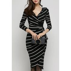 Sexy V-Neck Long Sleeve Slimming Striped Wrap Dress For Women