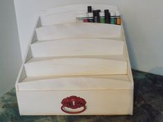 4 Tier Essential Oil Storage Shelf with a Drawer by MySquareWoodworking on Etsy