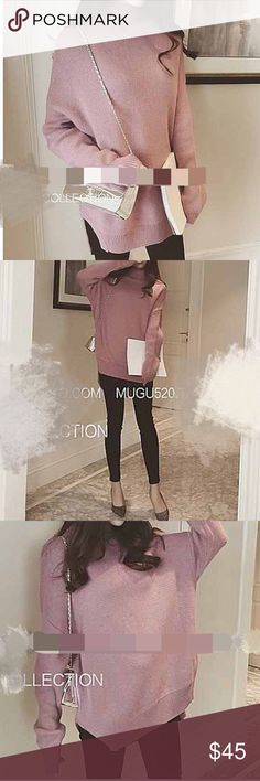 Oversized slit sweater Material: acrylic. Size: one size. Color: bluish purple pink and mustard yellow. Sweaters