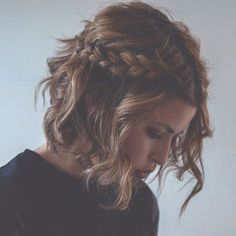 modern short hairstyle with beachy waves and half up braid
