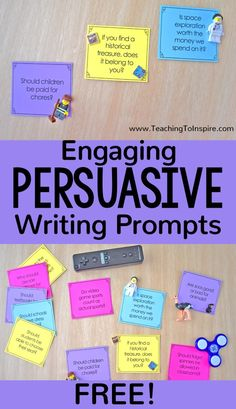 Free engaging persuasive writing prompts available on this post! Get some new ideas for persuasive writing topics and grab the free prompts. 3rd Grade Writing Prompts, Fifth Grade Writing, Writing Prompts For Writers, Picture Writing Prompts, Writing Lessons, Teaching Writing, Writing Ideas, Writing Resources, Writing Activities
