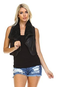 Marcelle Margaux Faux Fur Lined Moto Vest Small Black * Find out more about the great product at the image link.(This is an Amazon affiliate link)