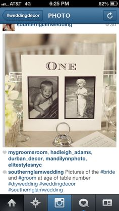 table numbers with pictures of bride and groom at age of table number   If you start a page on Instagram, then you could also update what is going on in your life afterwords!! Like when u have ur first kid or get a pet together!!