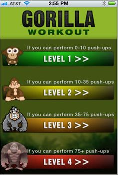 Gorilla Workout  Gorilla Workout is a fast-paced, no-equipment series of more than 40 exercises. Each exercise targets specific muscle groups to help you strengthen and tone your core, abs, chest, back, arms, and legs, and burn fat.     Price: $1.99