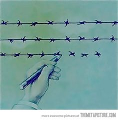 Funny pictures about There's a thin line between freedom and slavery. Oh, and cool pics about There's a thin line between freedom and slavery. Also, There's a thin line between freedom and slavery. Word To Your Mother, Wire Drawing, Thin Line, Cool Artwork, Amazing Artwork, Surreal Art, Surrealism, Photo Art, Design Art