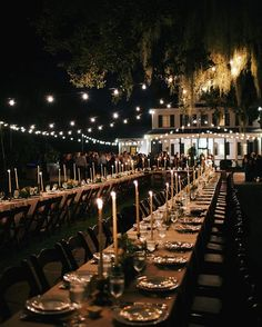 Long tables, twinkle lights, romantic candlelit dinner are what dreams are made of... See more of this #charlestonwedding from @oliviaraejames on #snippetandink!
