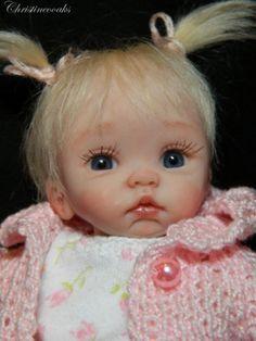 OOAK Hand Sculpted MINI Polymer Clay Baby Art Doll Miniature Girl