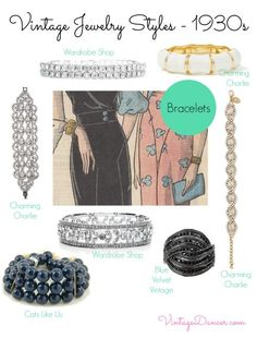 1930s style jewelry - Bracelets were tight fitting during the 1930s, some were worn as a cuff style, whilst others were delicately linked paste styles. Shop VintageDancer.com/1930s