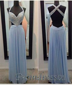 open criss cross back baby blue prom dress