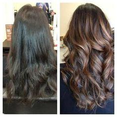 Resultado de imagem para dark brown hair with caramel highlights before and after