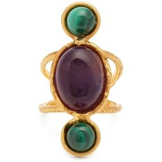 Sylvia Toledano Amethyst and malichite gold-plated ring ($190) ❤ liked on Polyvore featuring jewelry, rings, purple, amethyst jewelry, amethyst stone ring, purple ring, heart ring and oval amethyst ring
