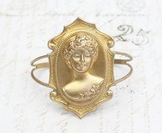 Cameo bracelet cuff brass Victorian lady retro large vintage style by mylavaliere on Etsy