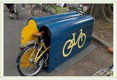 Policy: there are rules to have bike lockers at train stations to encourage people to be more active and cycle to the train station.
