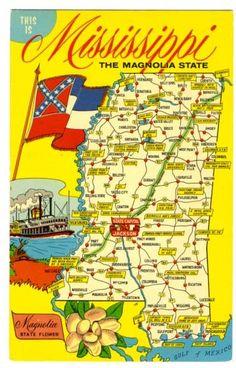 Mississippi Postcard Vintage State Map Postcards Mississippi - Mississippi state map usa