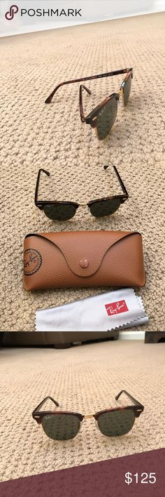 Ray-Ban sunglasses- Clubmasters, case and cleaner. Dark brown with gold frame. Brown case Ray-Ban Accessories Glasses