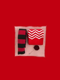 The Red Style Pack - perfect holiday gift for the men in your life. Striped red and black tie, red zig zag socks, red seersucker pocket square and a red rose lapel pin. Bamboo Socks, Red Style, Red Fashion, Seersucker, Men's Accessories, Pocket Square, Lapel Pins, Zig Zag, Black Tie