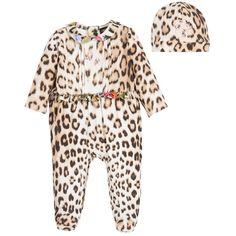 Roberto Cavalli - Girls Cotton Jersey Babygrow & Hat Gift Set | Childrensalon