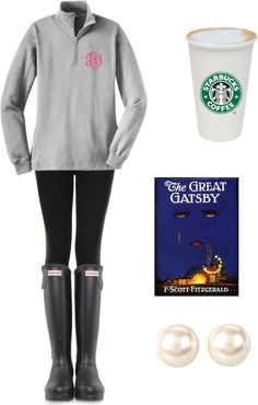 youngwildpreppy:  american-prep:  Cold Rainy Day Outfit by mlynskey featuring topshop leggingsTopshop  legging / Hunter  boots, $155 / Nina  earrings  i need this outfit.