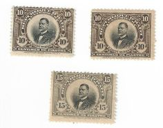 These three stamps are part of a set of Haitian stamps printed in 1914. According to the Scott Catalog, a large quantity was stolen while being delivered from the printer, so the stamps were never made available for sale at post offices in Haiti. They feature then President Oreste Zamor. His presidency was short lived. He overthrew his predecessor on Feb. 7, 1914 and in October, he himself was overthrown and ultimately assassinated. From 1911 to 1915, Haiti had six presidents.