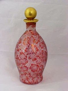19thC French Cologne Bottle Carved Red Floral Baccarat St Louis | eBay