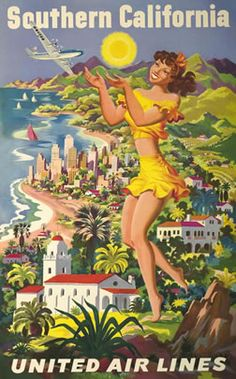Artist Unknown  Southern California - United Air Lines, 1950 ca.