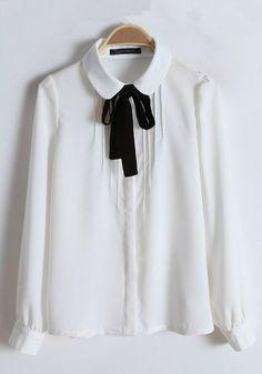 White Plain Round Neck Bow Cotton Blend Blouse