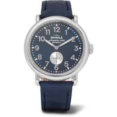 Shinola The Runwell 41mm Stainless Steel and Leather Watch ❤ liked on Polyvore featuring men's fashion, men's jewelry, men's watches, mens stainless steel watches and mens leather watches